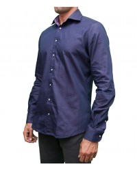 Double-faced Shirt Firenze jacquard BlueLilac