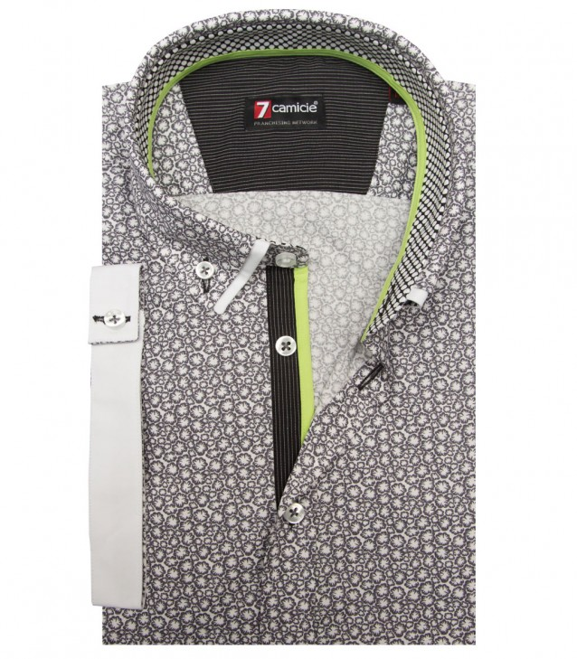 Shirt Leonardo Cotton WhiteDark Grey