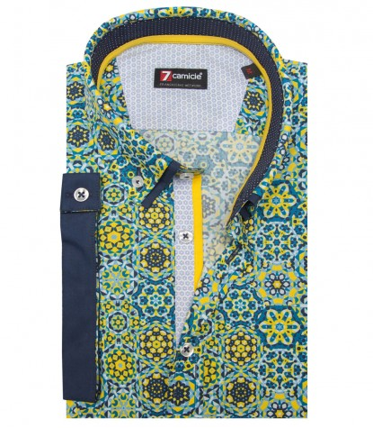 Shirt Leonardo Poplin Yellow and Avion