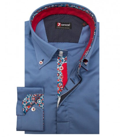 Shirt Roma Satin Blue Avion
