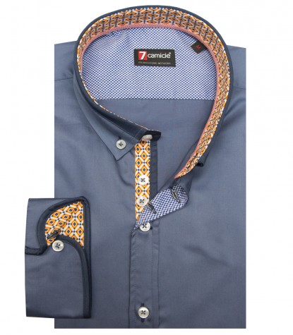 Shirt Leonardo Satin Blue Avion