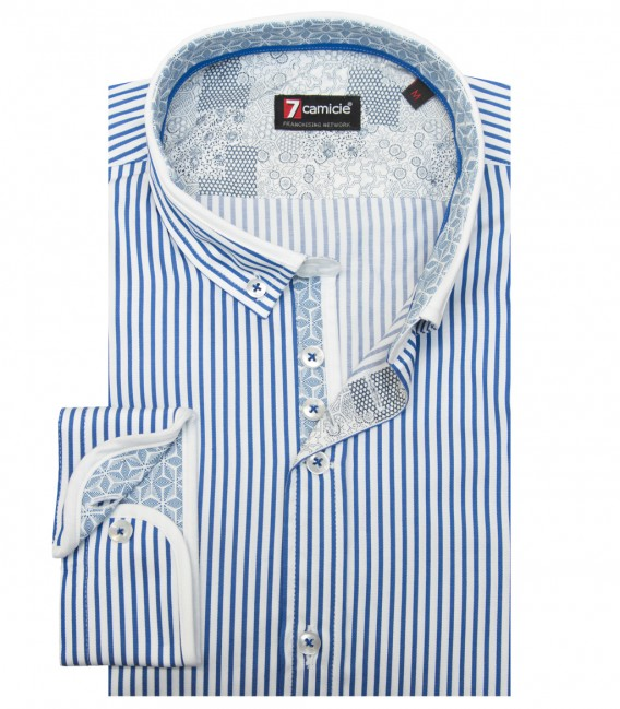 Shirt Leonardo Satin WhiteBlue