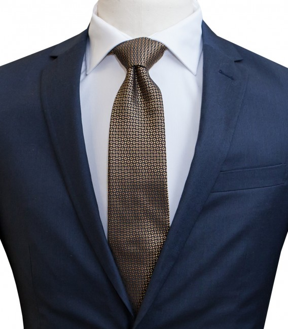 Ties Navona Silk Mustard and Dark Blue