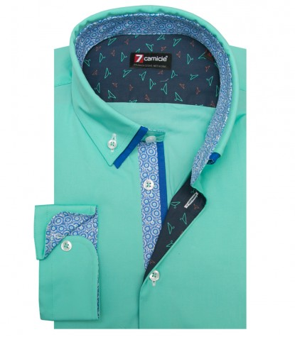 Shirt Leonardo stretch poplin Water Green