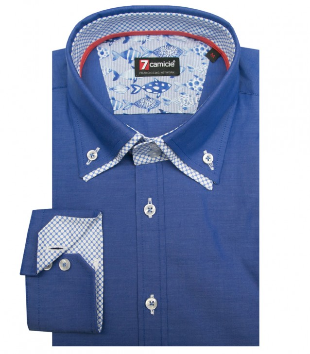 Camisas Marco Polo súper oxford Azul Avion
