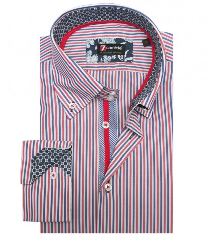 Shirt Roma Poplin WhiteRed