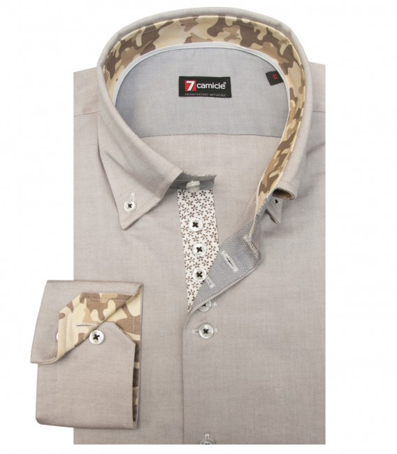 Camicia Roma Oxford Marrone Tortora