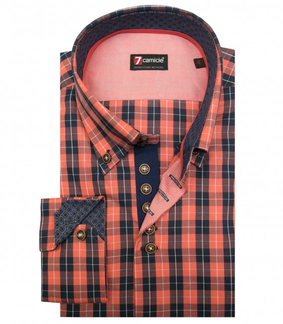 Shirt Roma Super oxford Dark Blue and Light Orange