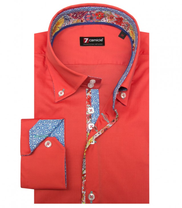 Shirt Roma stretch poplin Coral