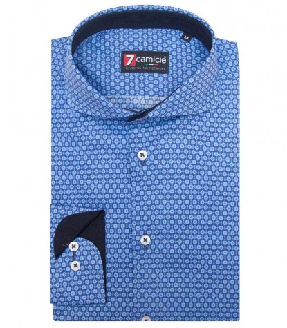Shirt Napoli stretch poplin BlueLite Blue