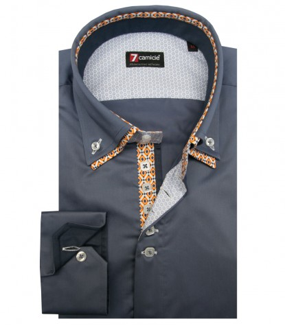 Camicia Marco Polo Satin Blu avion