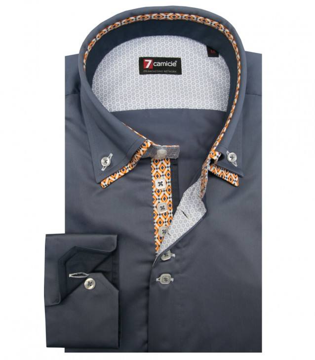 Shirt Marco Polo Satin Blue Avion