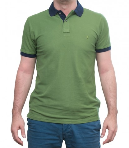 Polo Verde Militare con colletto blu