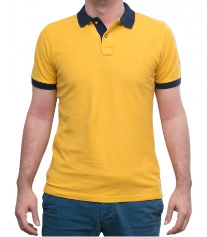 Polo Giallo Ocra con colletto blu