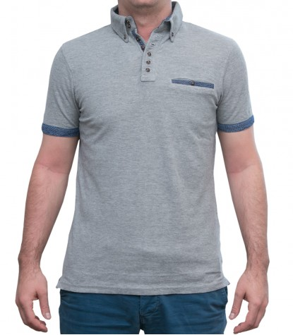 Polo Grigio Melange 2 bottoni Button Down con taschino