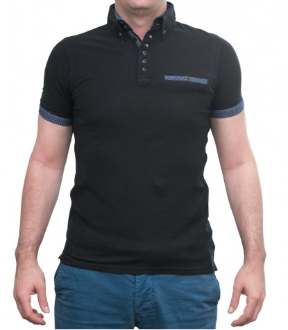 Polo Nero 2 bottoni Button Down con taschino