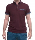 Polo Bordeaux 2 bottoni Button Down con taschino