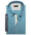 Shirt Leonardo Cotton TourquoiseWhite