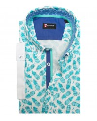 Camicia Leonardo Super oxford Bianco Blu Avion