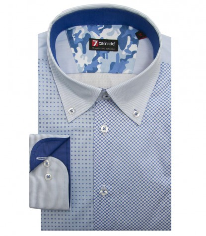Shirt Leonardo Cotton Light BlueWhite