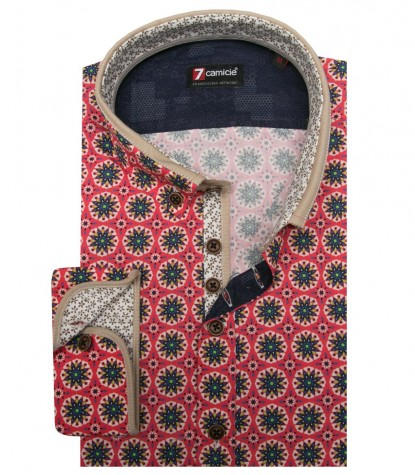 Shirt Leonardo Poplin Coral and Light Green