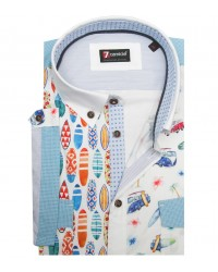 Shirt Leonardo Super oxford White and Light Red