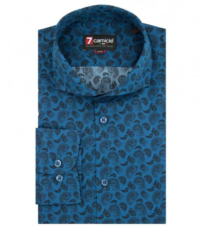 Shirt Firenze Poplin Oil Blue Black
