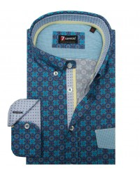 Shirt Leonardo Cotton Blue and Sky Melange