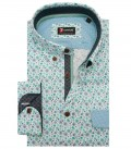 Shirt Leonardo Cotton WhiteGreen Leave