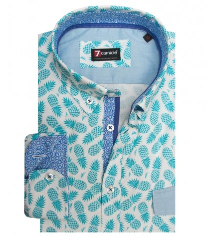 Camisas Leonardo súper oxford White Avion Blue