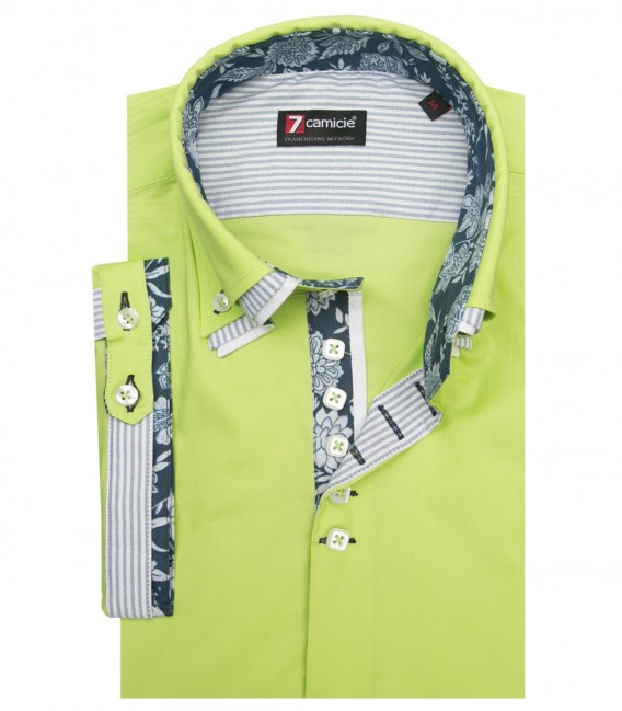 Shirt Vesuvio stretch poplin Green