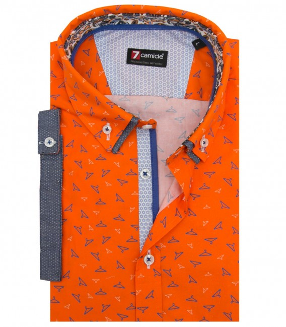 Shirt Leonardo Poplin Orange and Bluette