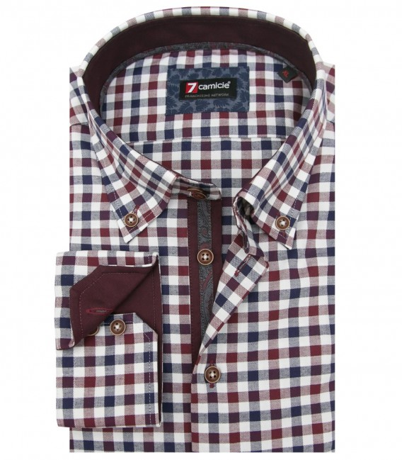 Camicia Roma Oxford Bordeaux Blu