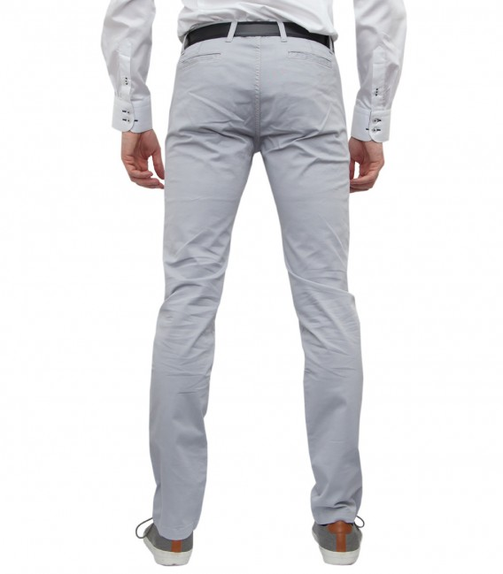 Gray Chino Twill Trousers