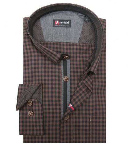 Shirt Romeo Super oxford Brown Black