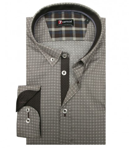 Camicia Leonardo Super oxford Marrone Bianco