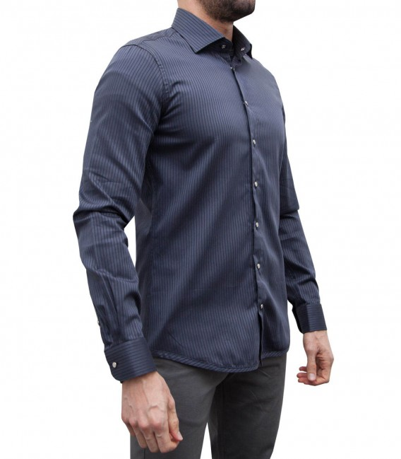 Camisa reversible Firenze gris oscuro y negro