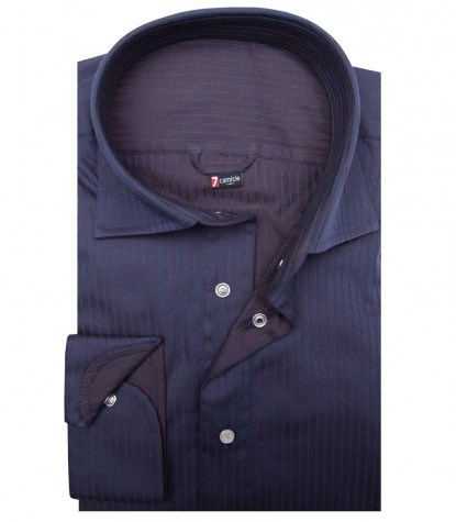 Camisa reversible Firenze azul y marrón