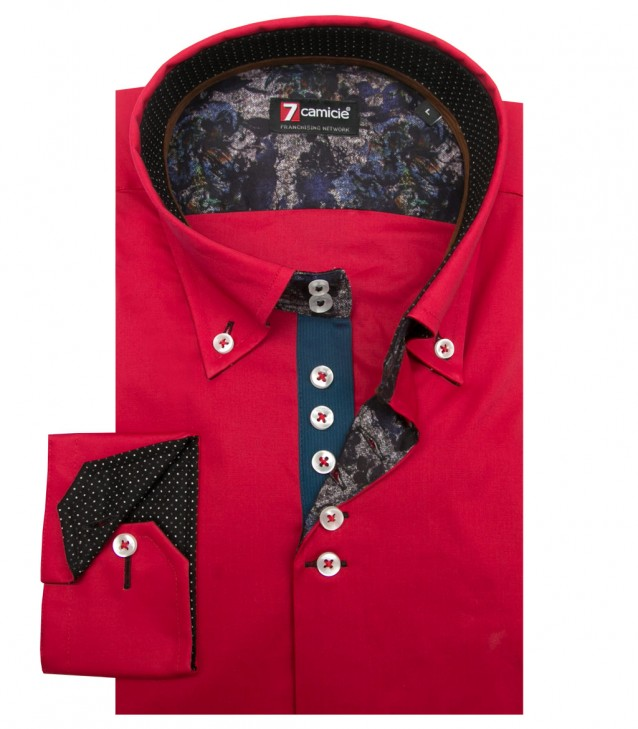 Shirt Roma stretch poplin Red