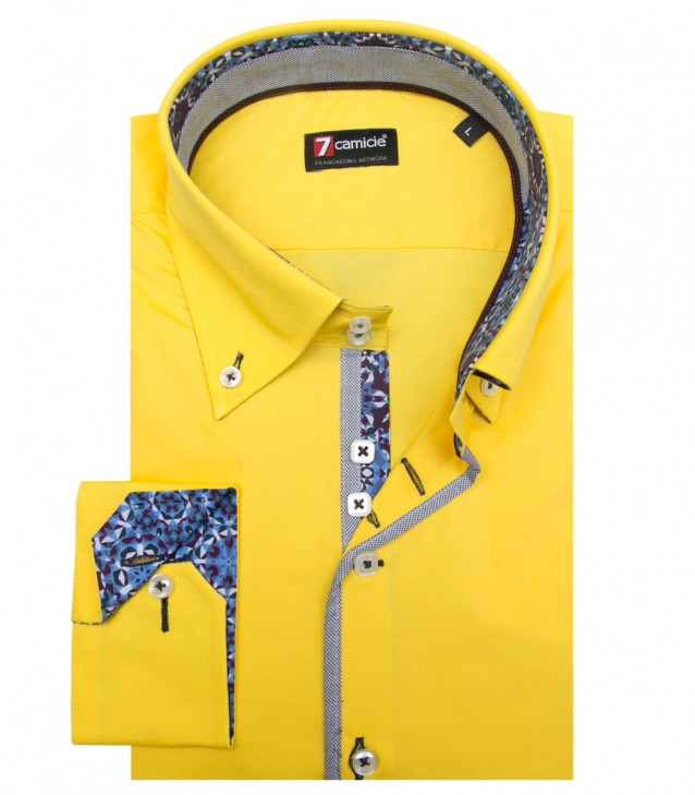 Shirt Roma stretch poplin Yellow