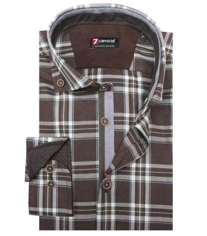 Shirt Leonardo Super oxford BrownWhite