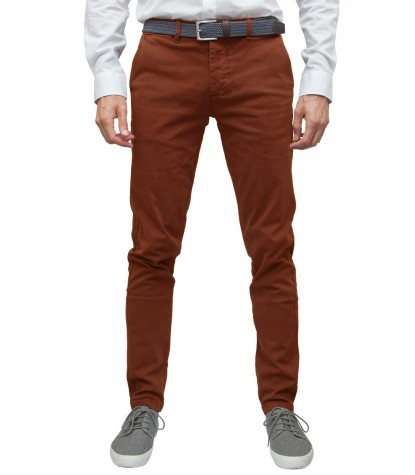 Pantalon chino homme en sergé orange
