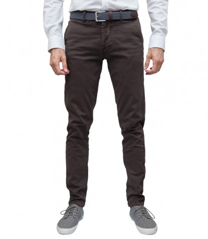 Pantaloni Uomo Chinos Twill Marrone