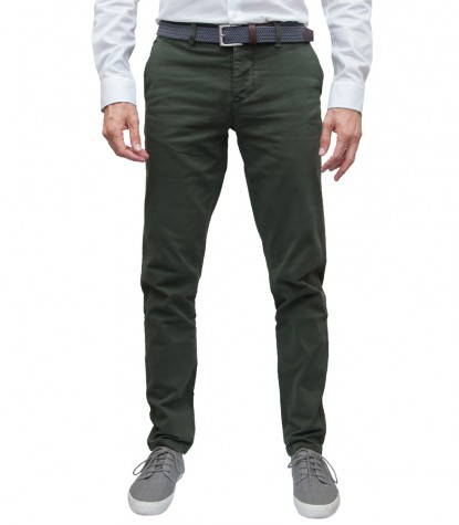 Green Twill Chinos Men Trousers