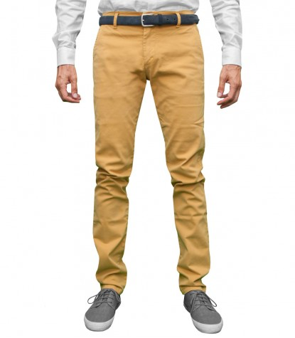 Men's Yellow Twill Chinos Trousers