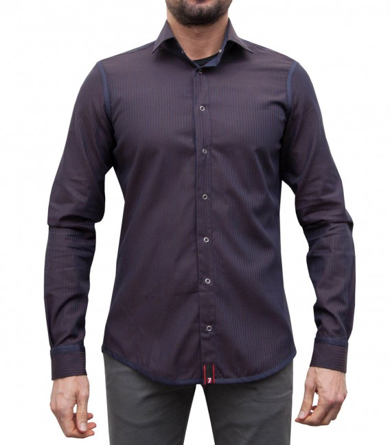 Double-faced shirt Firenze blue and brown