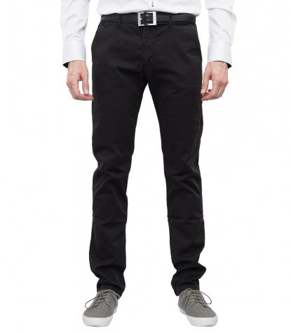 Men's Black Twill Chinos Trousers