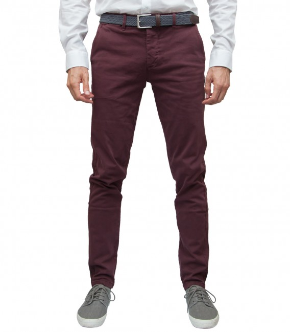 Men's Bordeaux Twill Chinos Trousers