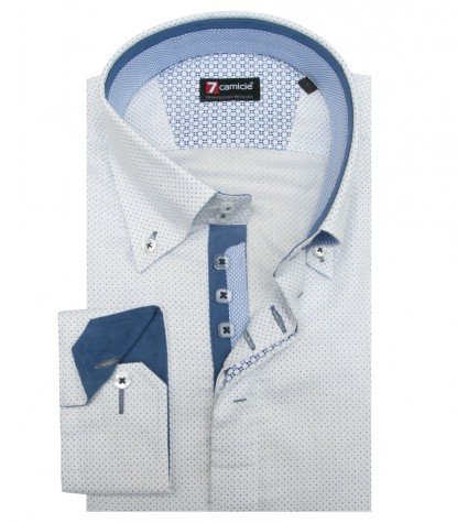 Shirt Roma Honeycomb fabric WhiteBlue