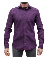Double-faced shirt Firenze Aubergine and black